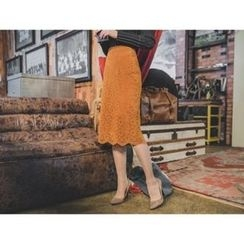 ERANZI - Lace-Overlay Midi Skirt
