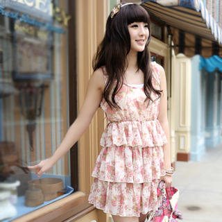 Chiffong rufsar Floral ärmlös klänning