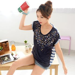 59 Seconds - Star Pattern Short Sleeve Top