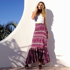 Hotprint - Patterned Ruffle Hem Maxi Skirt