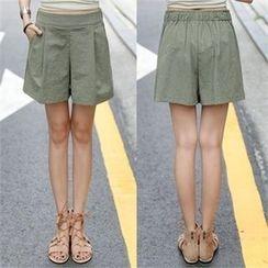 CHICFOX - Banded-Waist Linen Blend Shorts