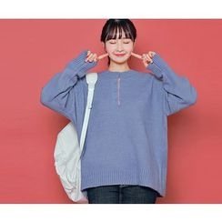 HOTPING - Half-Placket Knit Top