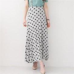 GLAM12 - Polka-Dot Suspender Long Skirt