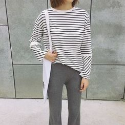 Eva Fashion - Stripe Panel Long-Sleeve T-shirt