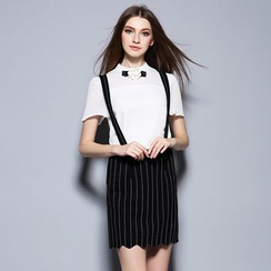 Cherry Dress - Set: Bow Short-Sleeve Blouse + Pinstriped Suspender Skirt