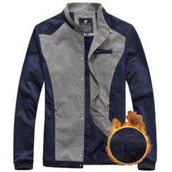 Alvicio - 長袖皮革拼接夾克