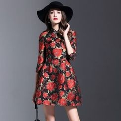 Elabo - Floral Embroidered A-Line Dress