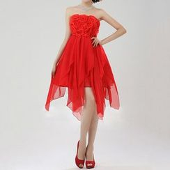 Bridal Workshop - 饰花抹胸雪纺礼服裙
