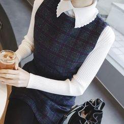mimi&didi - Collared Rib-Knit Top