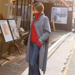 DABAGIRL - Wool Blend Wrap Coat with Sash