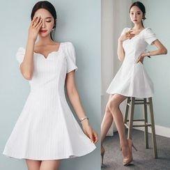 Deedlit - Short-Sleeve V-neck Striped Dress