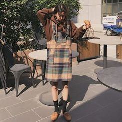 Dute - Pocketed Plaid Pinafore Dress