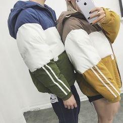 JUN.LEE - Color Block Hooded Padded Jacket