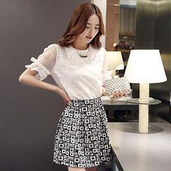 Romantica - Set: Short-Sleeve Bow-Accent Top + Printed A-Line Skirt