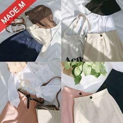 MICHYEORA - Slit-Hem Linen Blend Midi Skirt