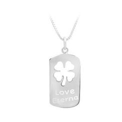 BELEC - 925 Sterling Silver Four-leaf Clover Pendant with Necklace For Men