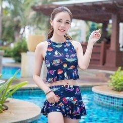 UniFIN - 套裝: 印花坦基尼泳衣上衣 + 泳裙