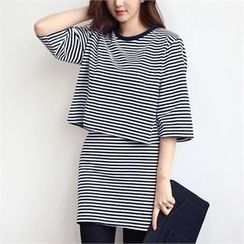 kenzi w - Set: 3/4-Sleeve Striped Top + Elastic-Waist Striped Skirt