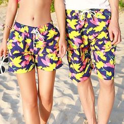 Sunset Hours - Print Matching Couple Swim Shorts