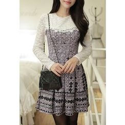 MyFiona - Lace-Panel Pleated Tweed Dress