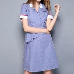 Merald - Stripe Short-Sleeve Shirtdress