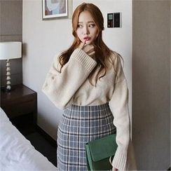 QNIGIRLS - Turtle-Neck Wide-Sleeve Sweater