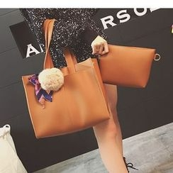 Aishang - Set: Faux Leather Tote Bag + Clutch