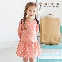 LILIPURRI - Girls Heart Pattern Beribboned Dress