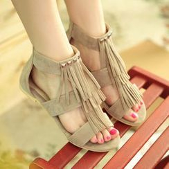 YOUIN - Studded Fringed Flat Sandals
