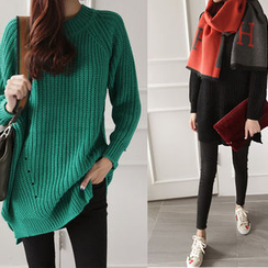 NIPONJJUYA - Dip-Back Rib-Knit Sweater