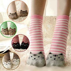 NANA Stockings - Cat Print Striped Socks