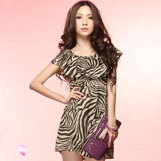 Tokyo Fashion - Ruffle-Collar Animal-Print Dress