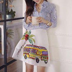 Amella - Set: Stripe Panel Shirt + Jeweled Printed Skirt