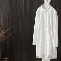 Rosadame - 蕾絲貼飾長袖襯衫