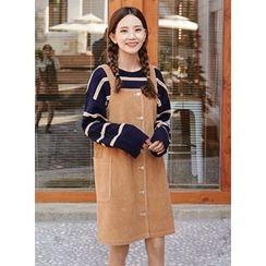 icecream12 - Button-Front Corduroy Jumper Dress