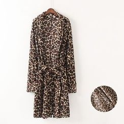 Gatz - Leopard-Pattern Fleece Night Robe