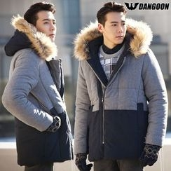 DANGOON - Faux-Fur Trim Hooded Color-Block Padded Jacket