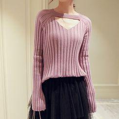 Romantica - Long-Sleeve Plain Cutout Knit Top