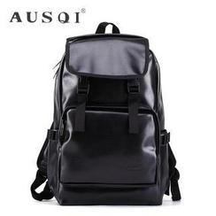 Ausqi - Faux-Leather Waterproof Backpack