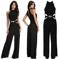 HOTCAKE - Cut Out Detailed Sleeveless Jumpsuit