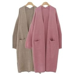 PPGIRL - Open-Front Pocket-Detail Long Cardigan