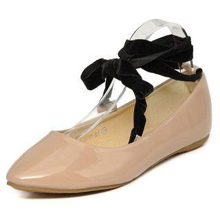 YesStyle Footwear - Ankle Tie Patent Flats
