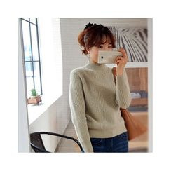 LEELIN - Mock-Neck Wool Blend Sweater