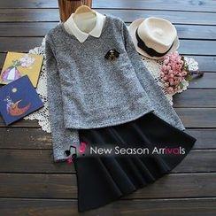 YOYO - Set: Brooch Knit Top + A-Line Skirt + Collar