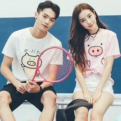 Ellib - Couple Matching Pig Print Short Sleeve T-Shirt