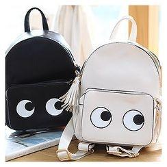 Sechuna - Faux-Leather Tasseled Backpack