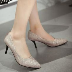 Gizmal Boots - 中跟亮面高跟鞋