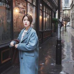 mimi&didi - Wide-Collar Wool Blend Handmade Coat