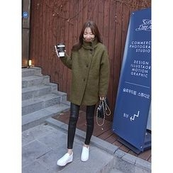 hellopeco - High-Neck Wool Blend Coat