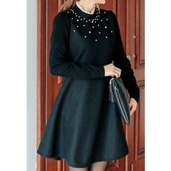 REDOPIN - Faux-Pearl Detail A-Line Dress